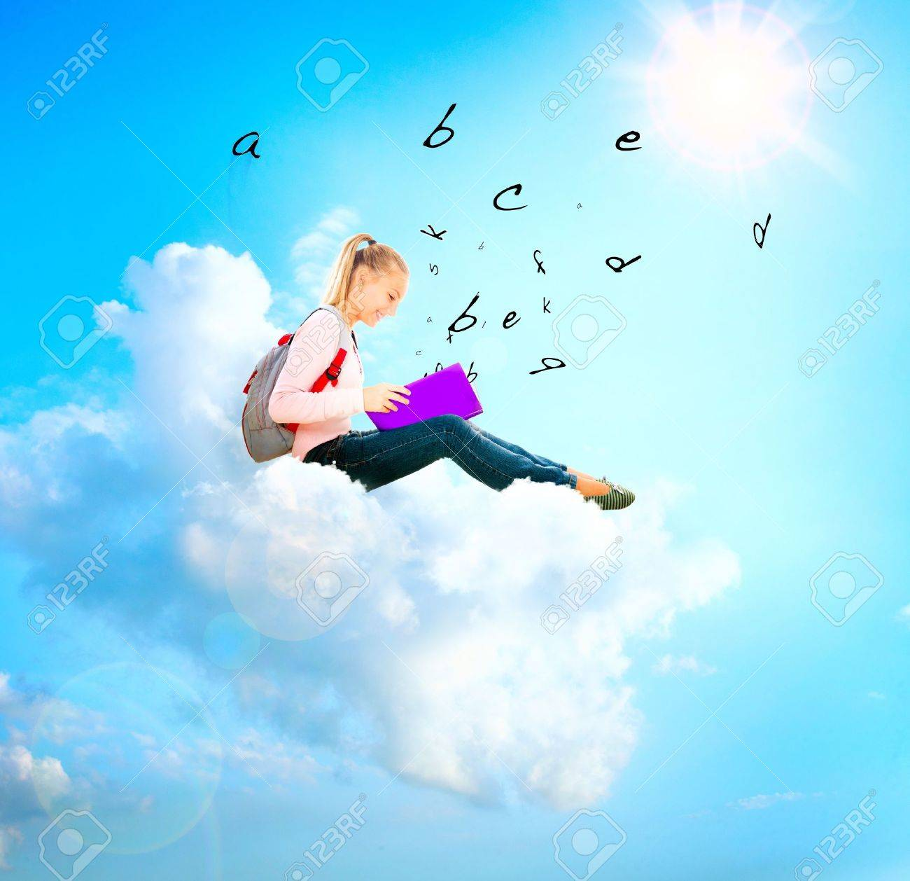 School Girl or Student on a Cloud Reading a book  Education Stock Photo - 18693535