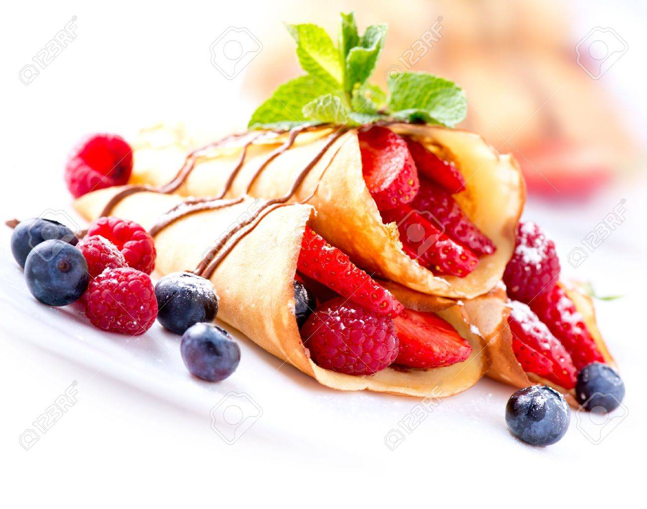 Crepes With Berries over White - 18697280
