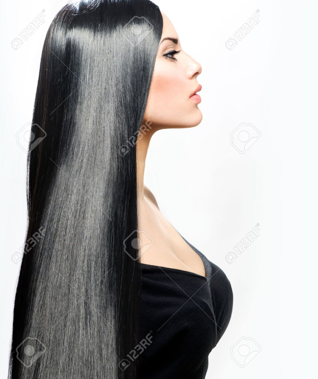 Beauty Girl With Long Straight Black Healthy Hair Stock Photo