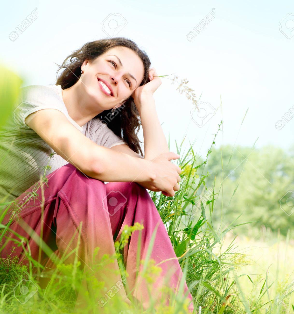 Beautiful Young Woman Outdoors  Enjoy Nature  Meadow Stock Photo - 18690602