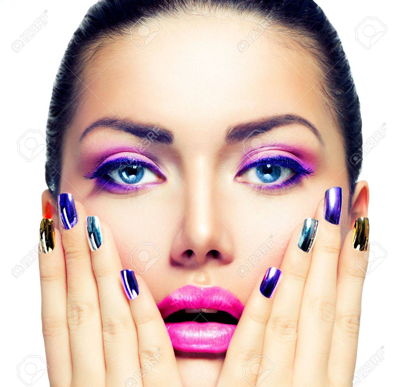 Beauty Makeup Purple Make-up And Colorful Bright Nails Stock Photo ...