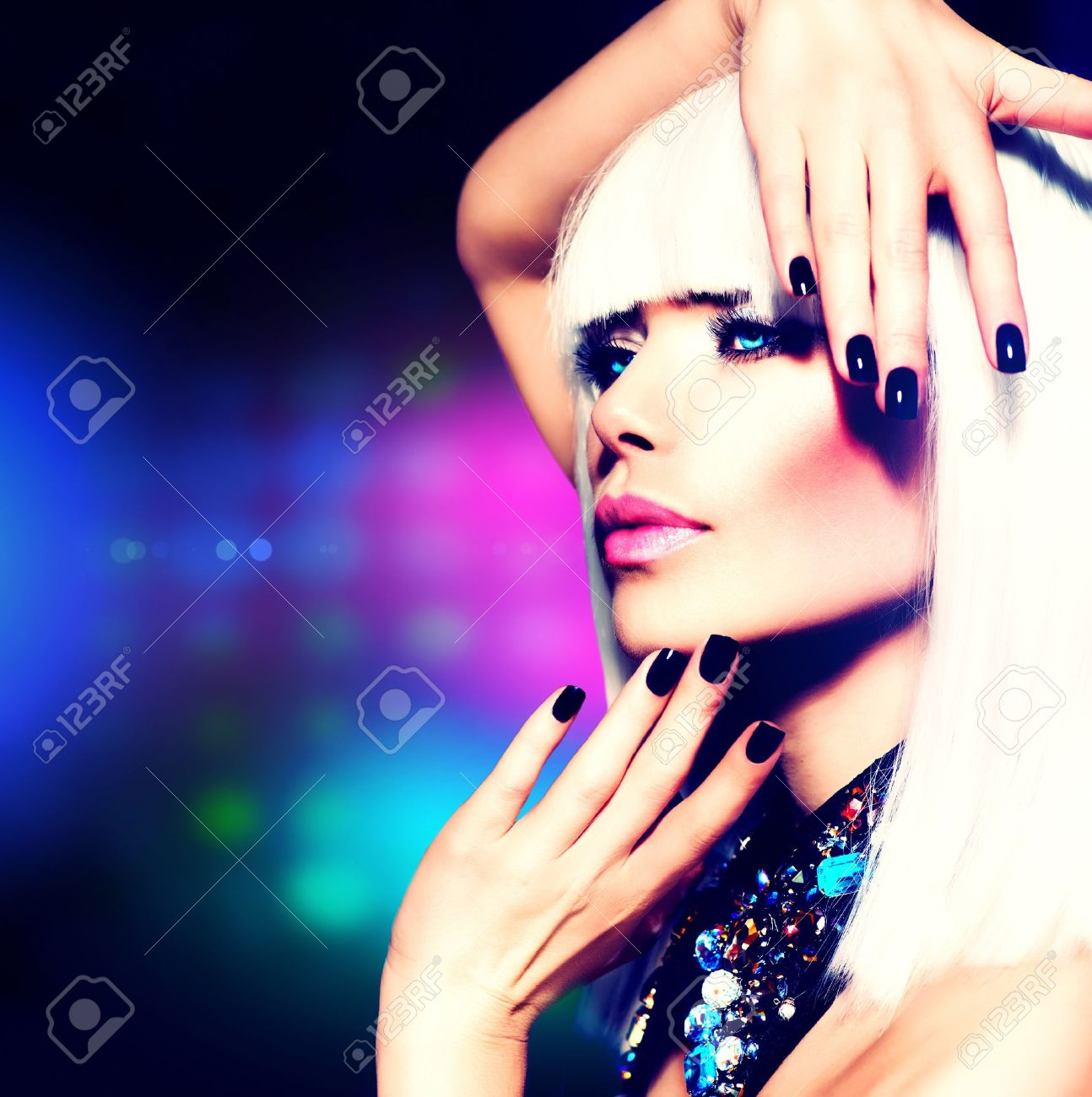 Fashion Disco Party Girl Portrait  Purple Makeup and White Hair Stock Photo - 19225020