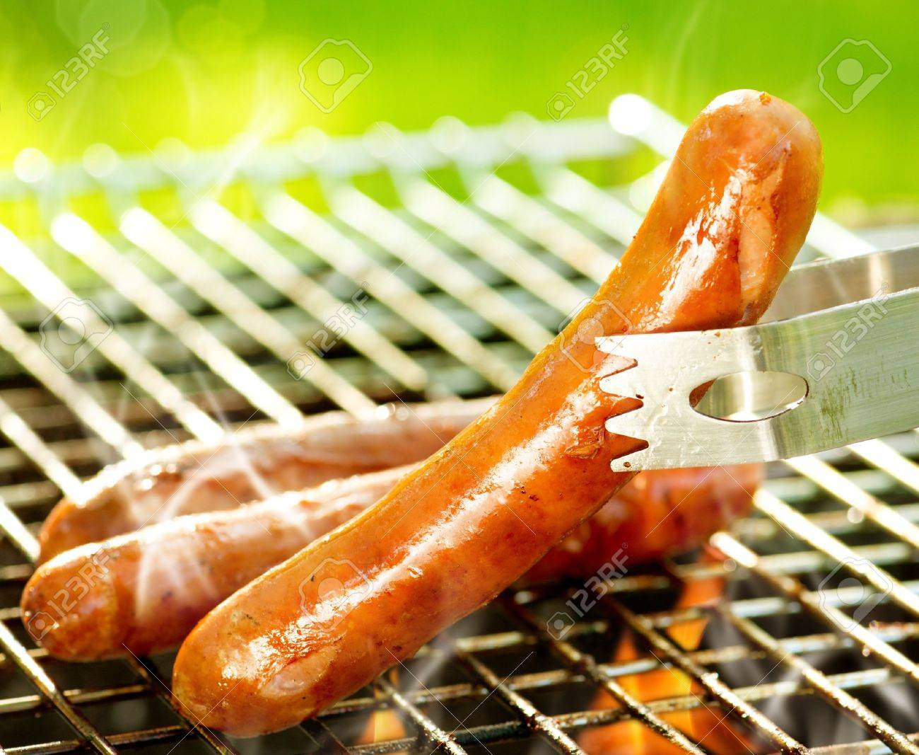 Grilled Sausage on the flaming Grill BBQ Bearbeque outdoors - 19574255