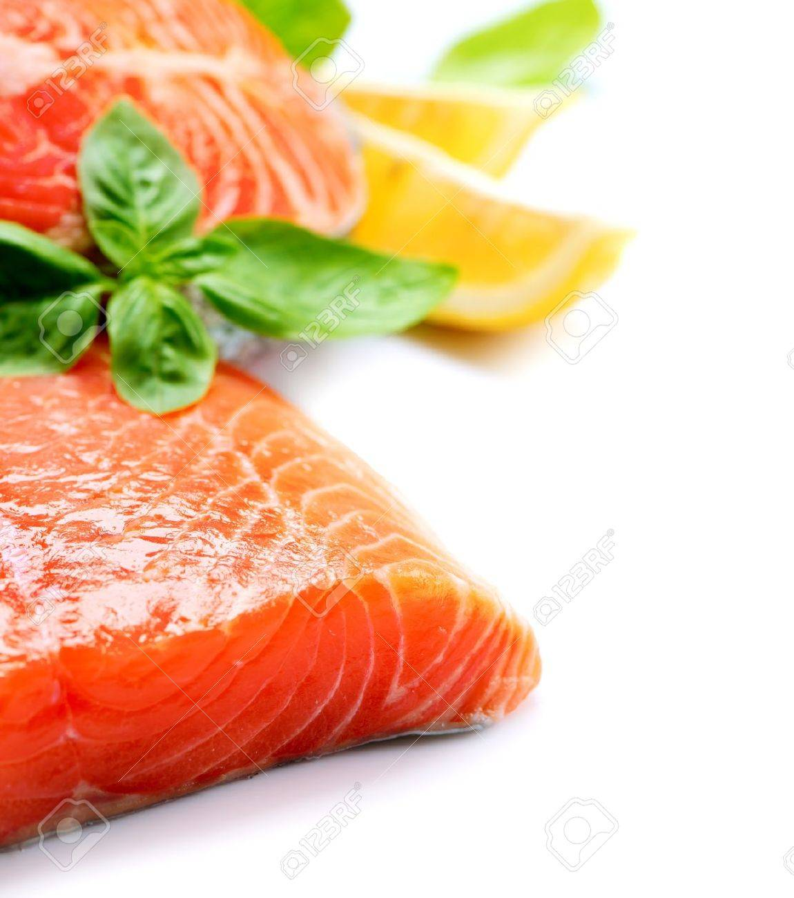 Salmon Raw Fillet  Red Fish isolated on a White Background Stock Photo - 19978713
