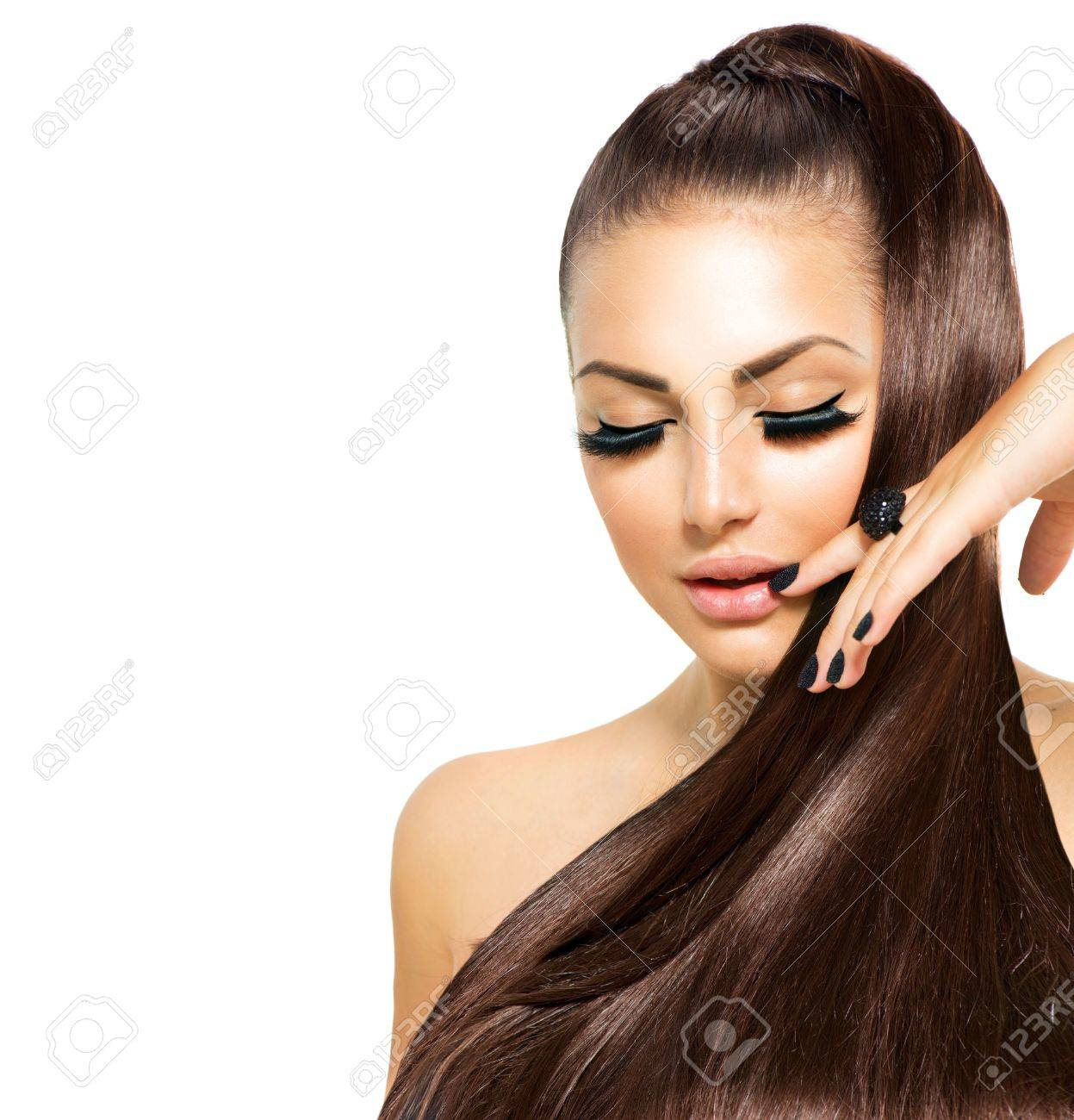 Beauty Fashion Girl with Long Hair  Trendy Caviar Black Manicure Stock Photo - 20635947