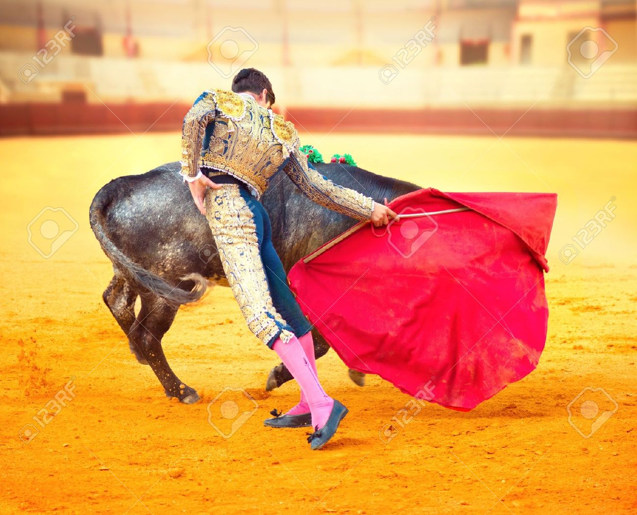 Corrida Image corrida matador fighting in a typical spanish bullfight stock photo