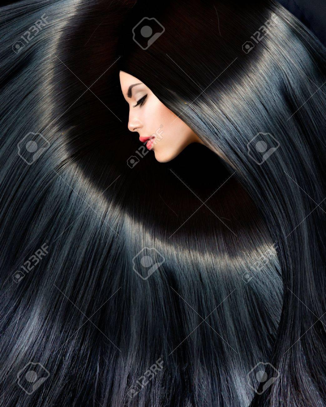 Healthy Long Black Hair Beauty Brunette Woman