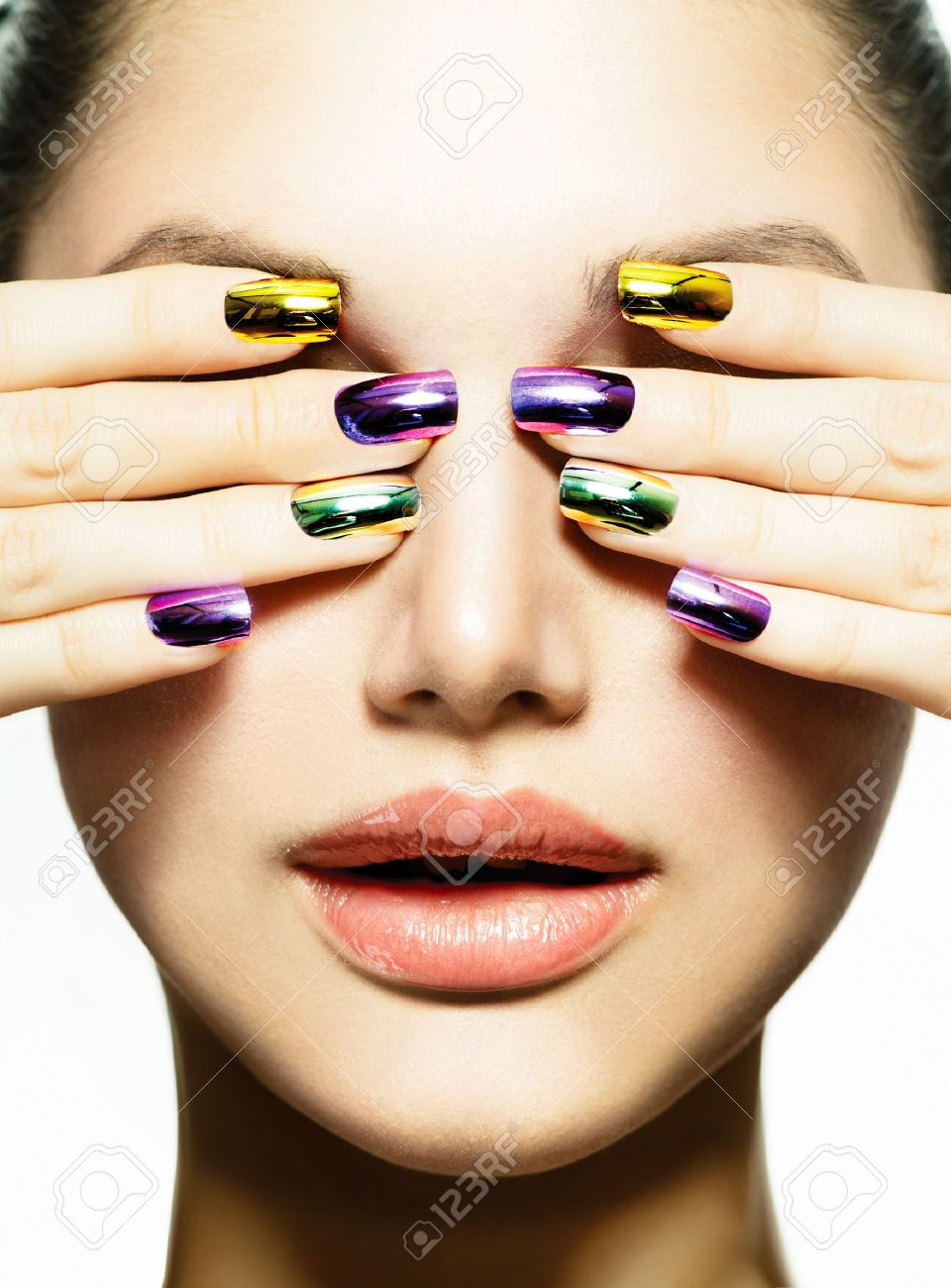 Manicure And Make-up Nail Art Beauty Woman With Colorful Nails Stock ...