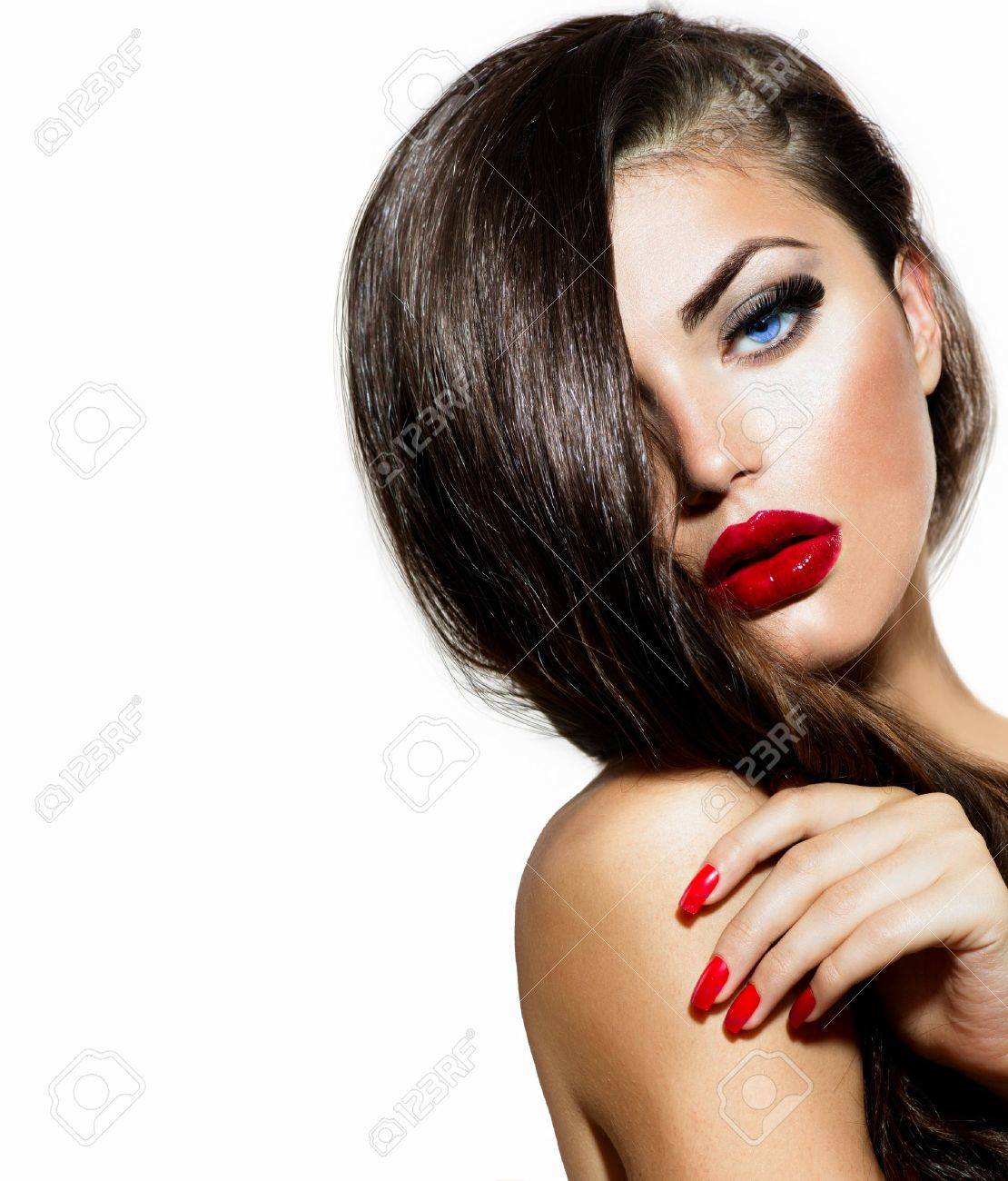 Sexy Beauty Girl with Red Lips and Nails  Provocative Make up Stock Photo - 21065050
