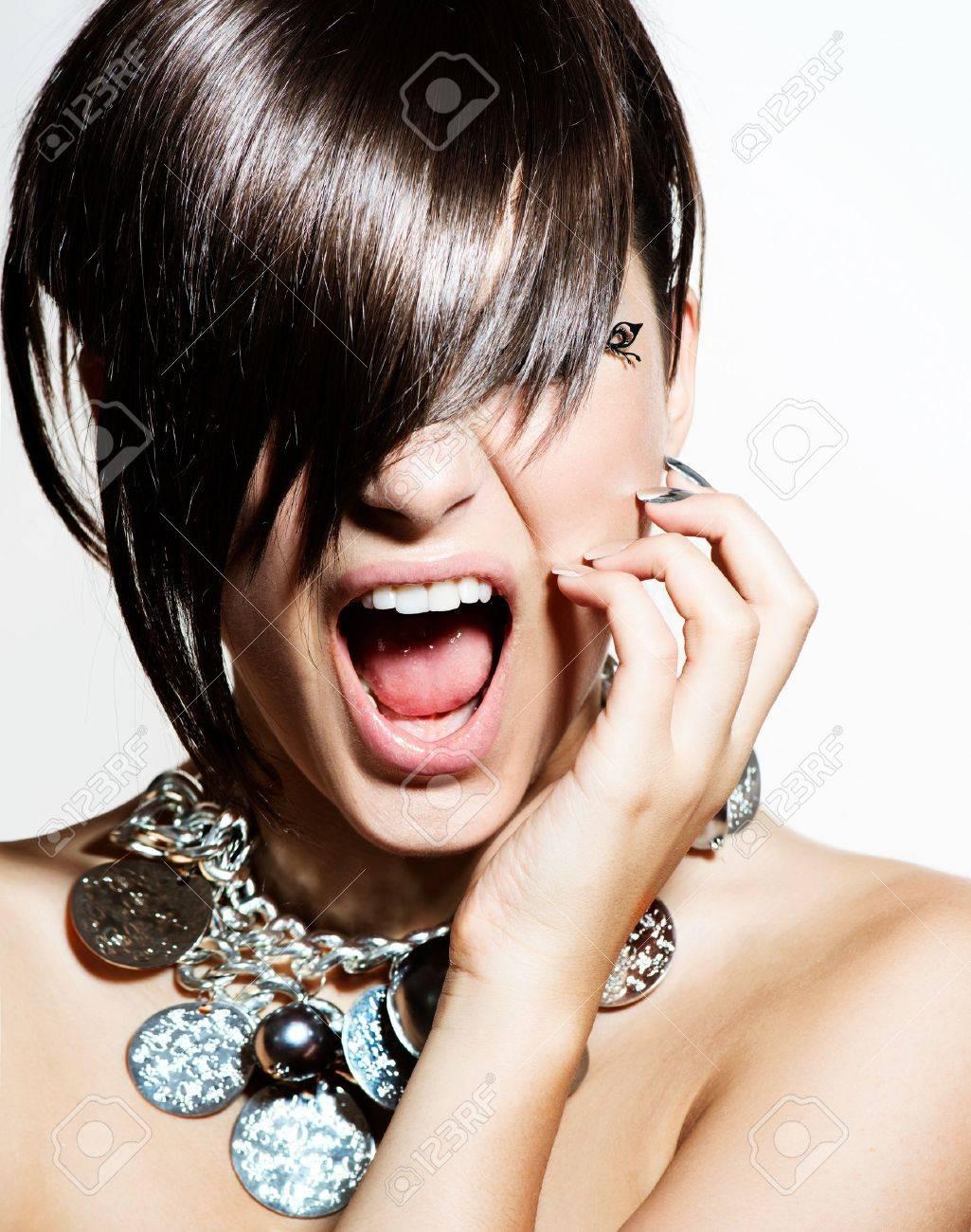 Fashion Model Girl Portrait  Emotions  Trendy Hair Style Stock Photo - 21065052
