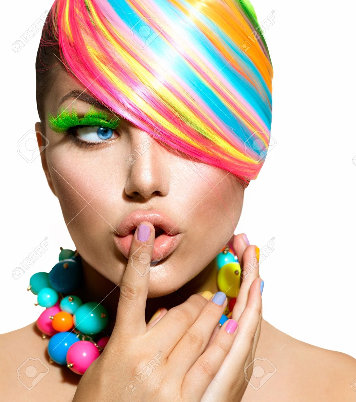 Beauty Girl Portrait with Colorful Makeup, Hair and Accessories - 21065063