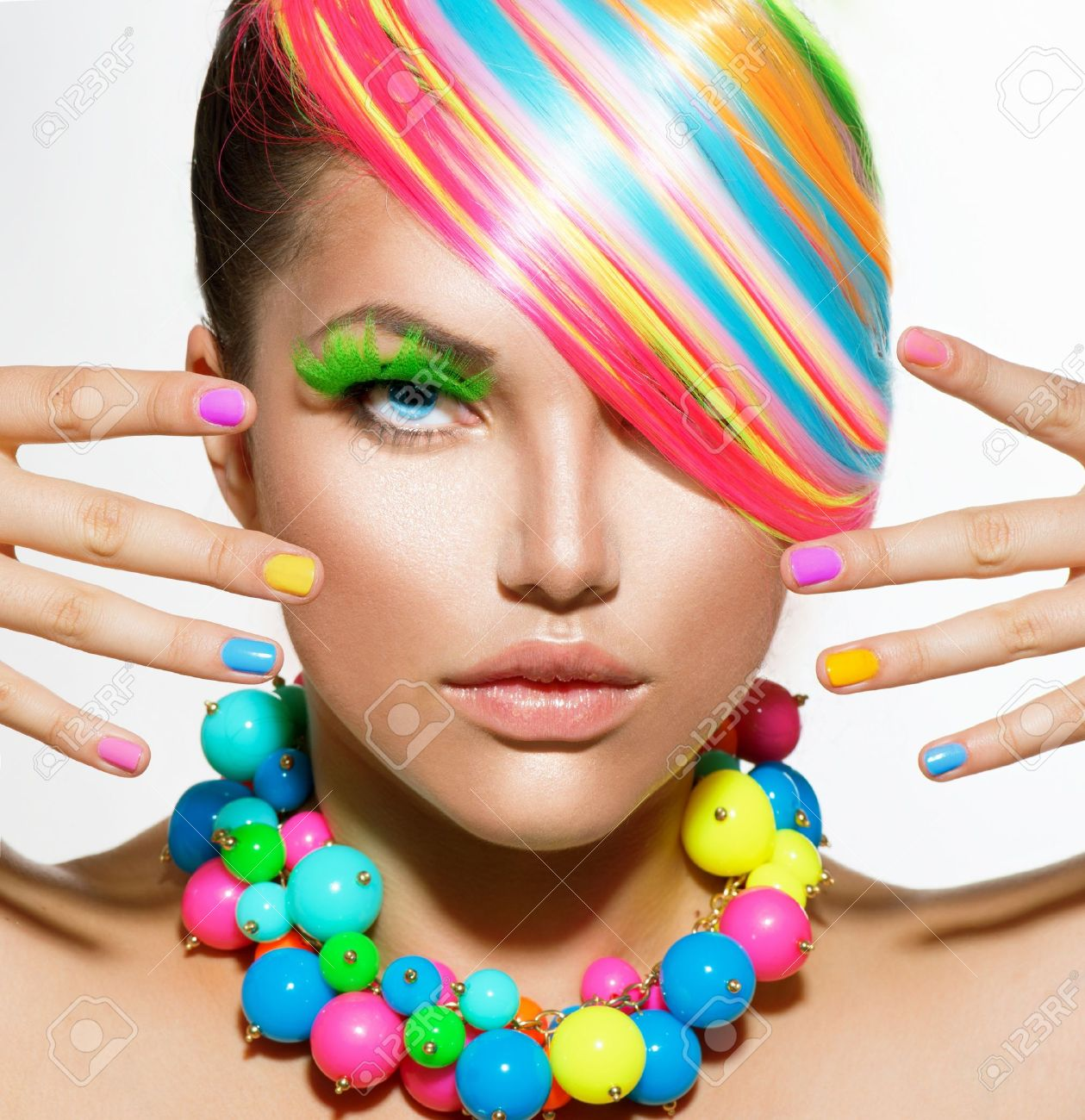 Beauty Girl Portrait with Colorful Makeup, Hair and Accessories Stock Photo - 21341939