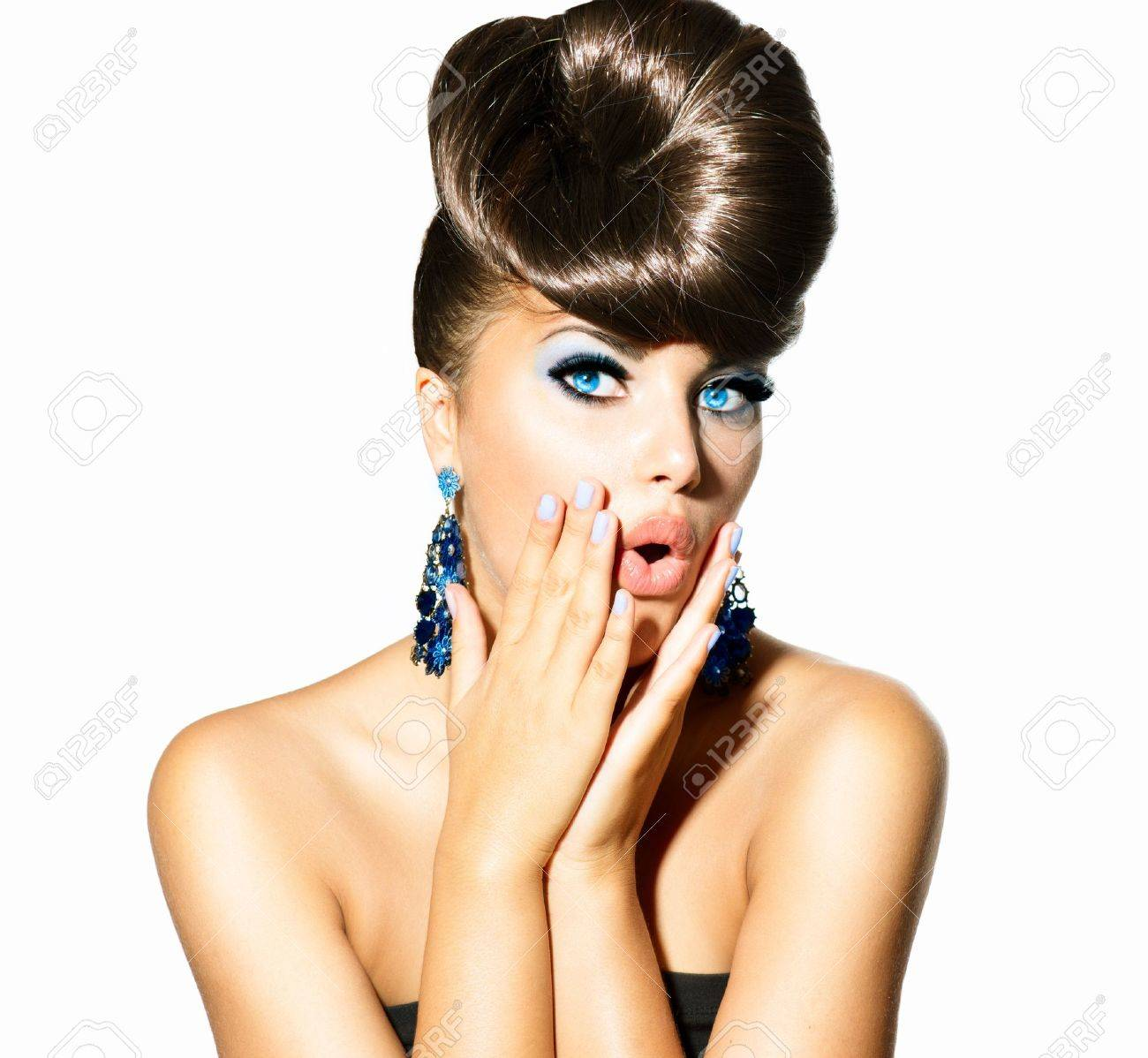 Fashion Model Girl Portrait with Blue Eyes  Creative Hairstyle Stock Photo - 21341943