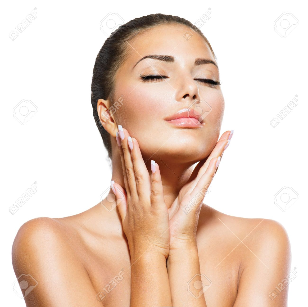 Beauty Portrait  Beautiful Spa Woman Touching her Face Stock Photo - 21386651