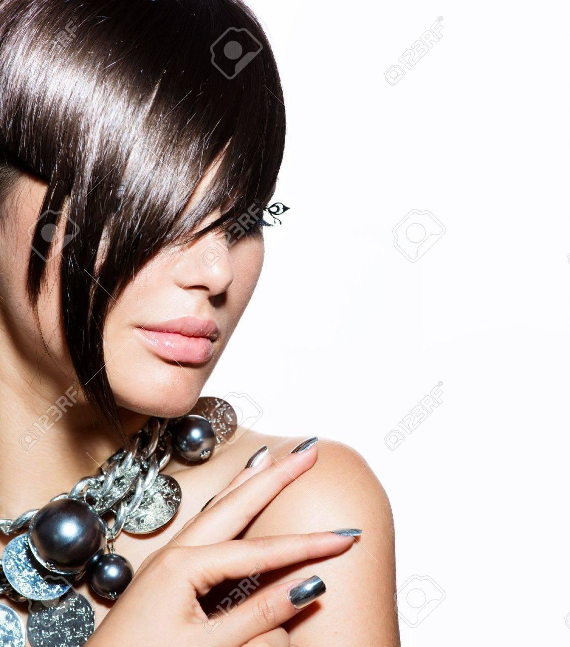 Fashion Model Girl Portrait  Trendy Hair Style Stock Photo - 21386732