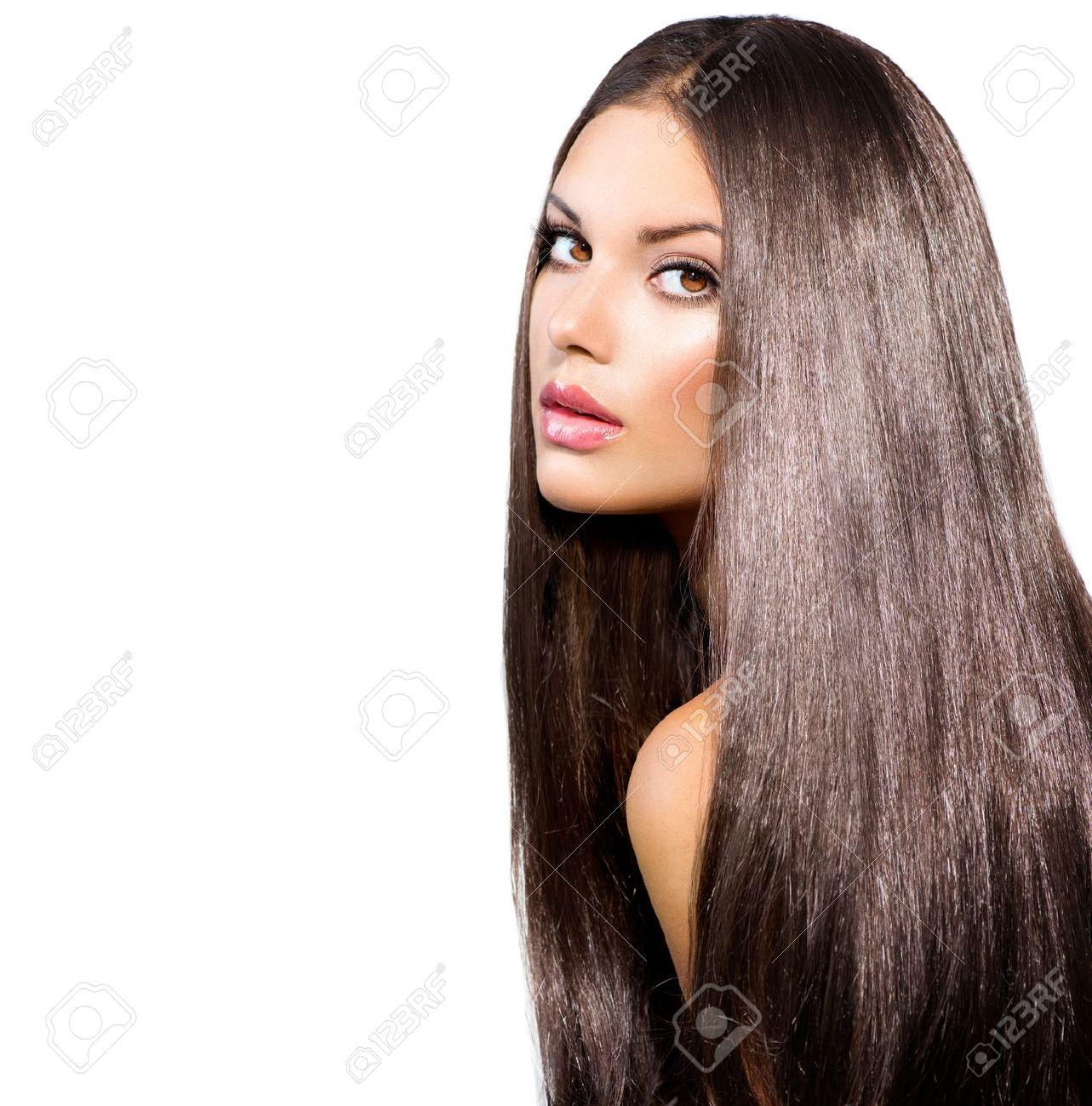 Long Healthy Straight Hair  Model Brunette Girl Portrait Stock Photo - 21563979