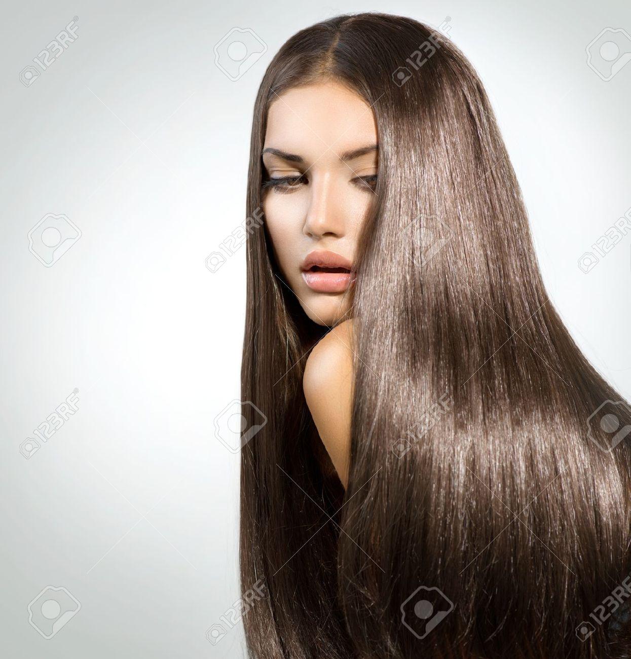 Lange Gesundes Glattes Haar Modell Brunette Girl Portrait ...