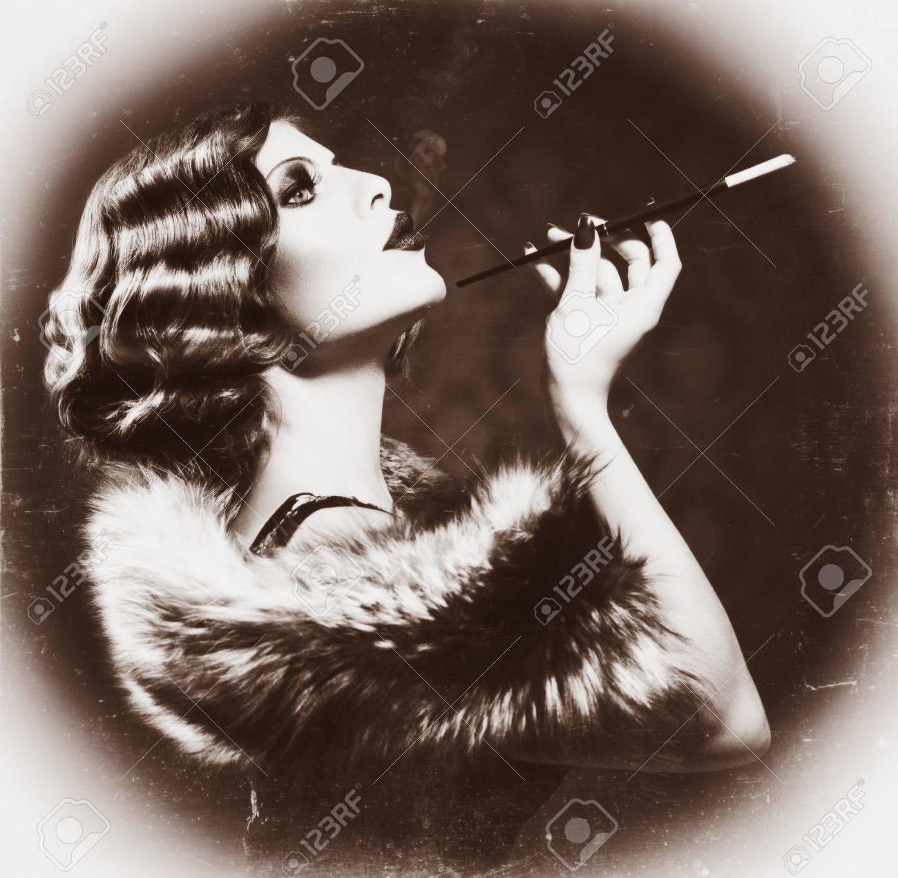 Smoking Retro Woman  Vintage Styled Black and White Photo Stock Photo - 22132798
