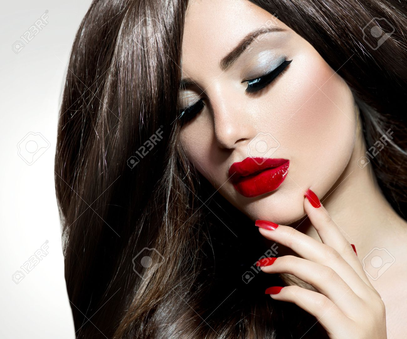 Sexy Beauty Girl with Red Lips and Nails  Provocative Make up Stock Photo - 22454782