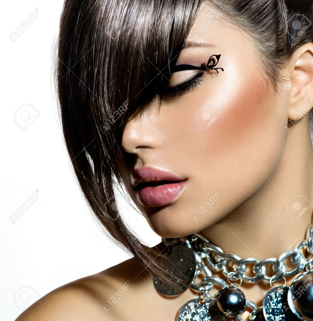 Fashion Glamour Beauty Girl With Stylish Hairstyle And Makeup Stock