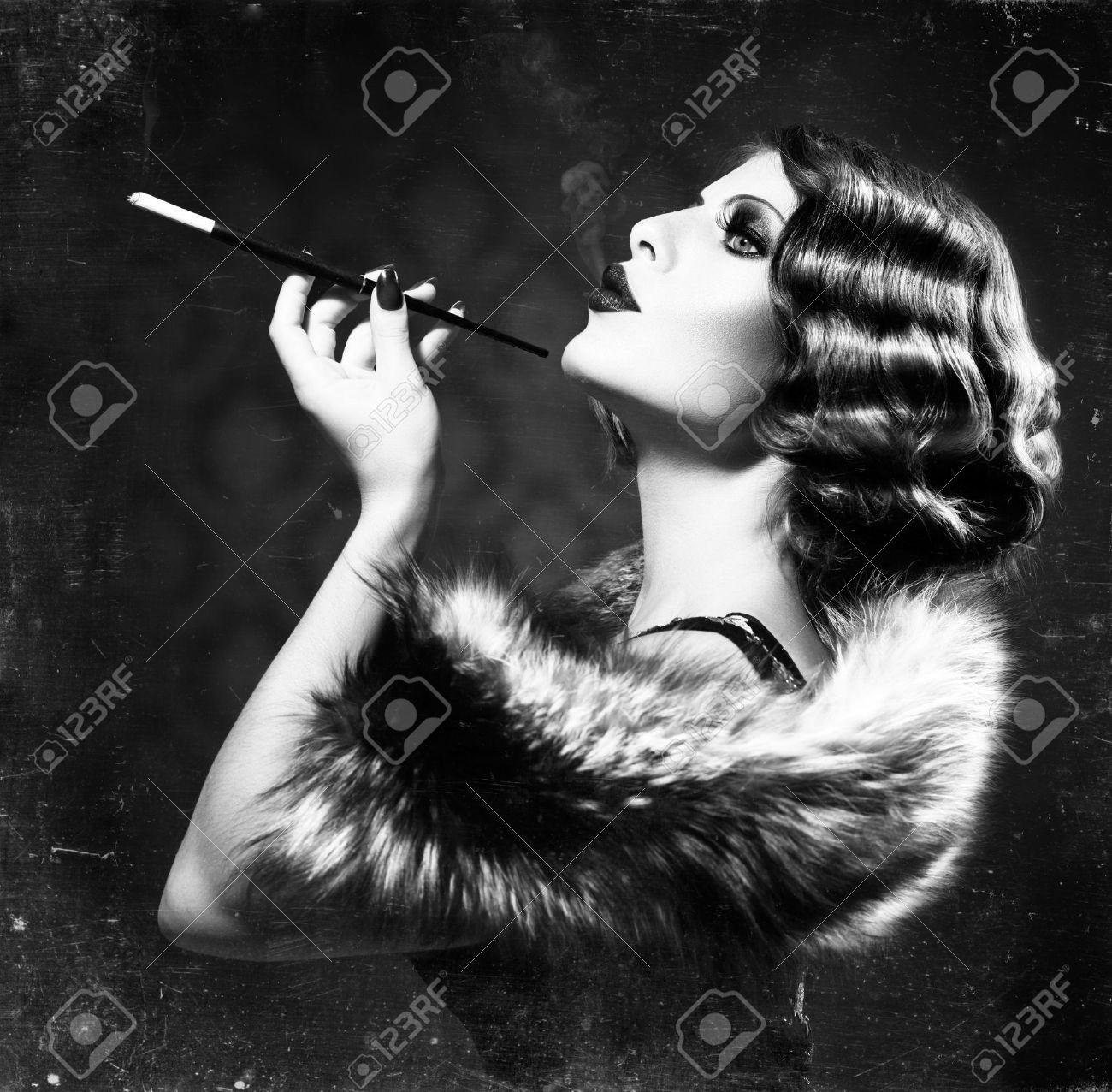 Smoking retro woman vintage styled black and white photo stock photo 22132817