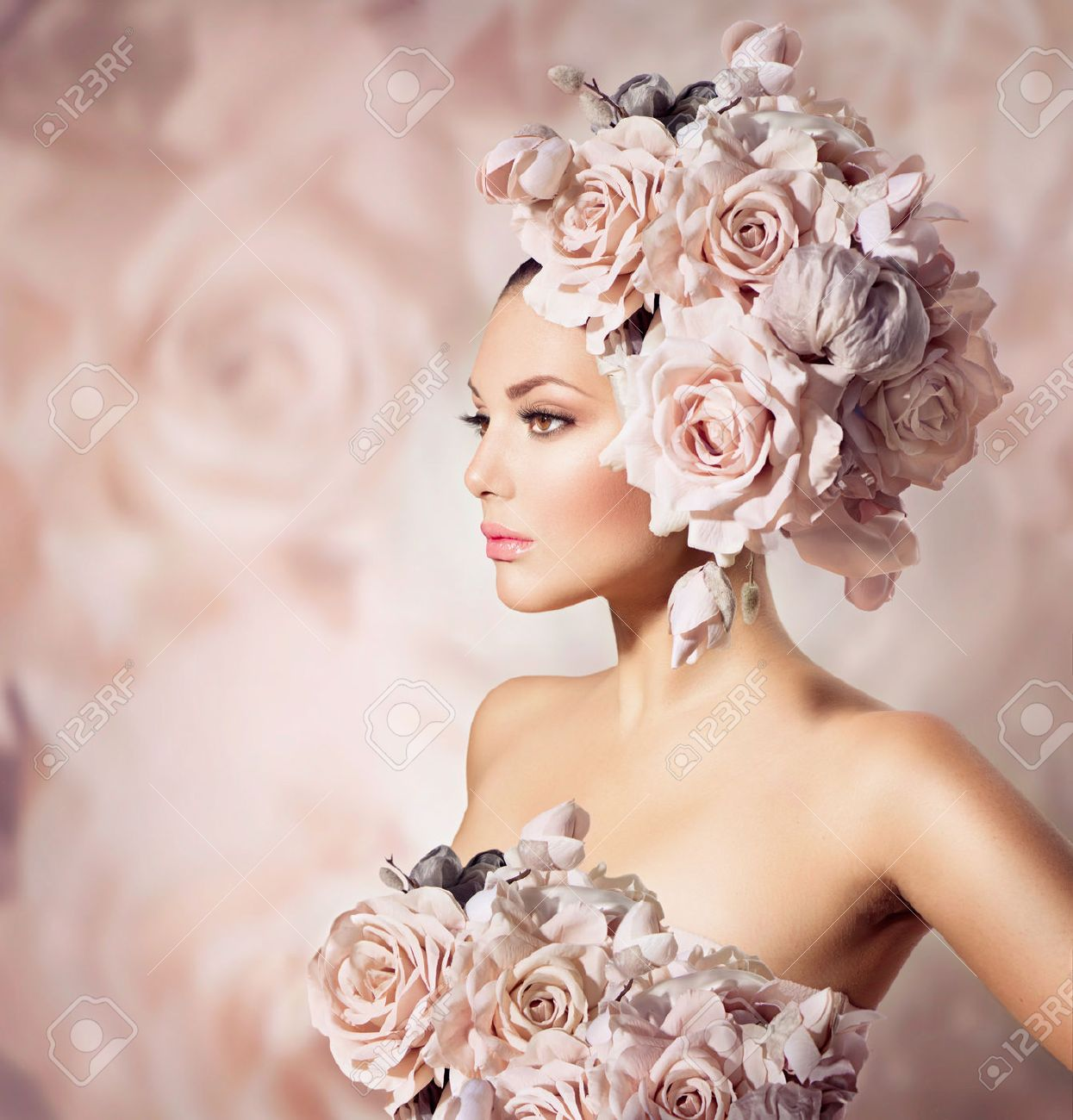 Fashion Beauty Model Girl with Flowers Hair  Bride Stock Photo - 22559302