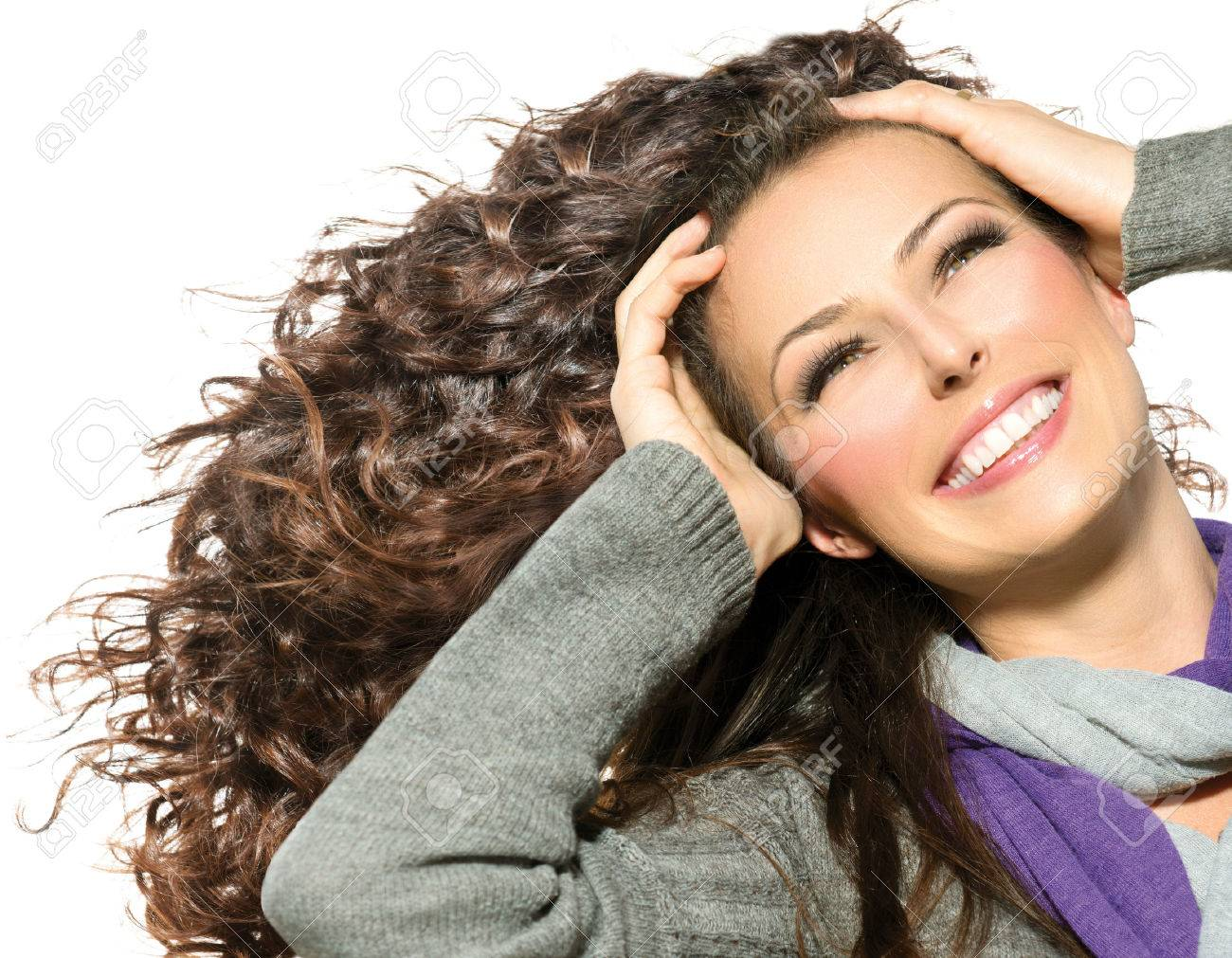 Beauty Woman with Long Curly Hair Healthy Blowing Hair - 22783528