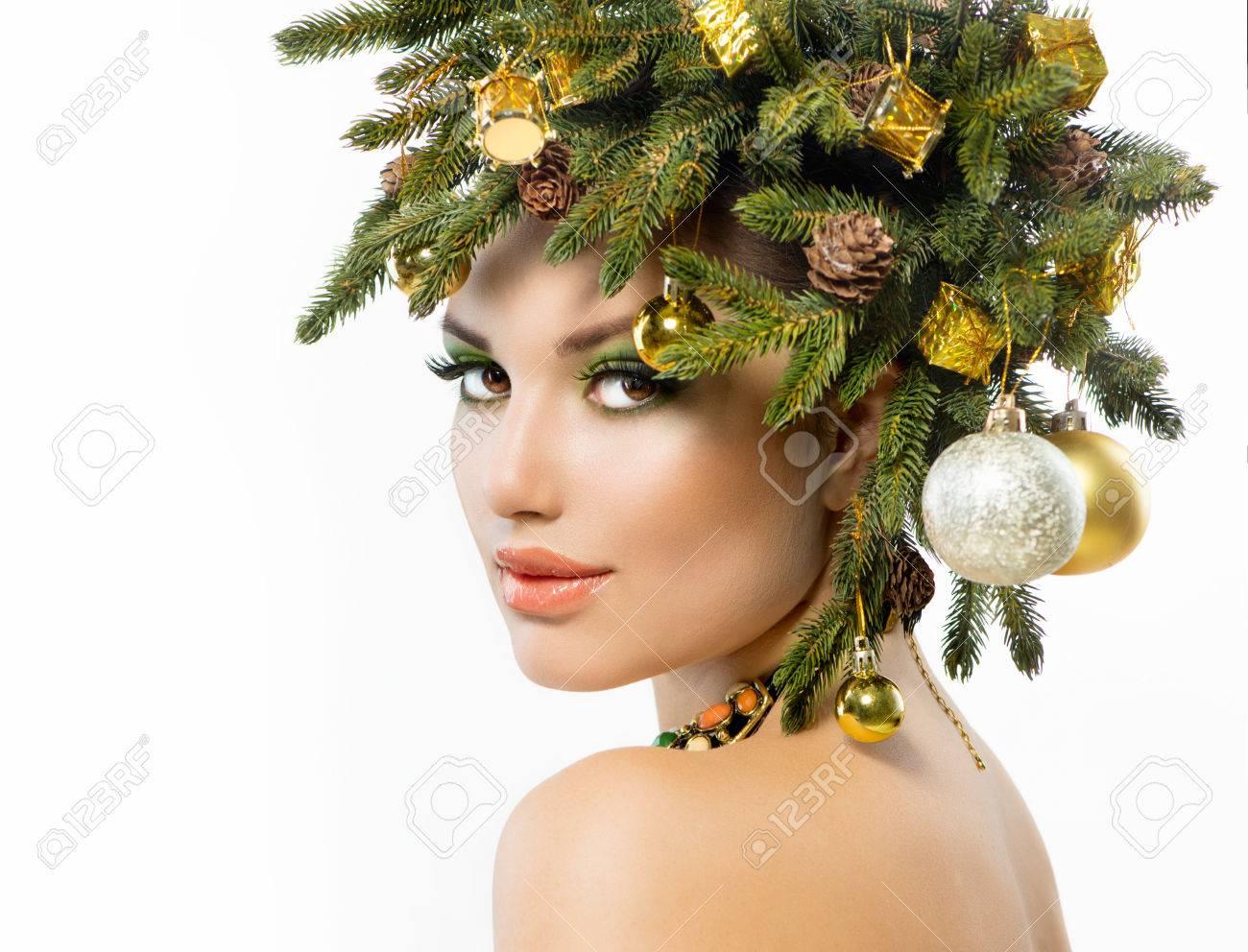 Christmas Woman  Christmas Tree Holiday Hairstyle and Make up Stock Photo - 22997371