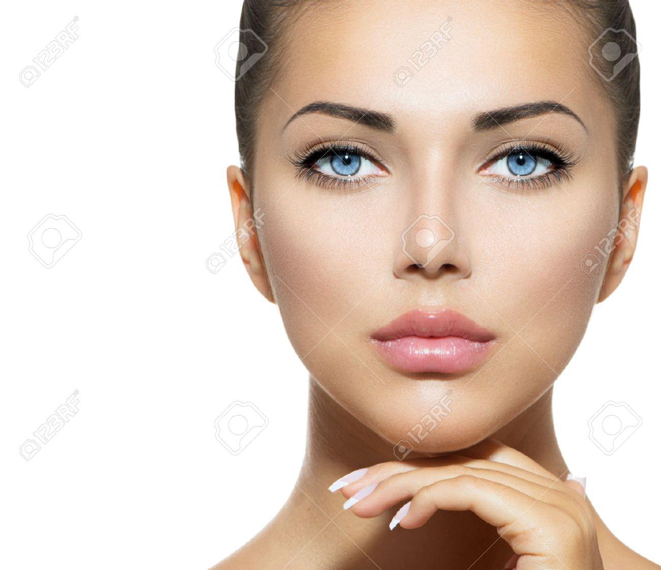 Beauty Portrait  Beautiful Spa Woman Touching her Face Stock Photo - 22997372