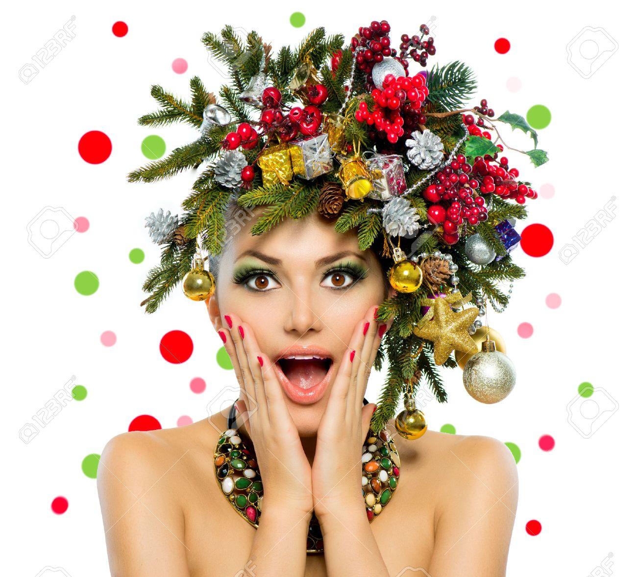 Christmas Woman Christmas Tree Holiday Hairstyle And Make Up Stock ...