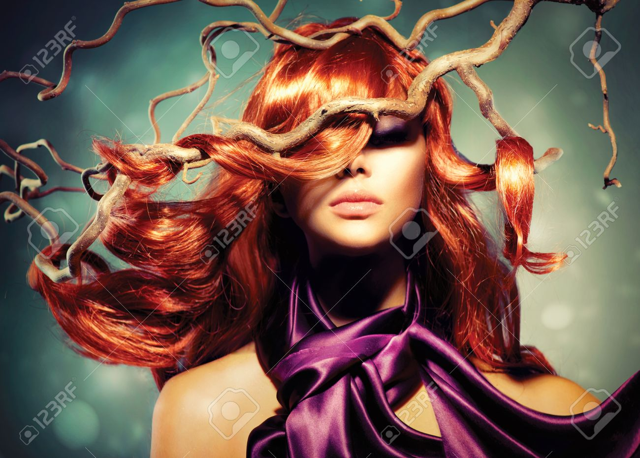 Fashion Model Woman Portrait with Long Curly Red Hair Stock Photo - 23042863