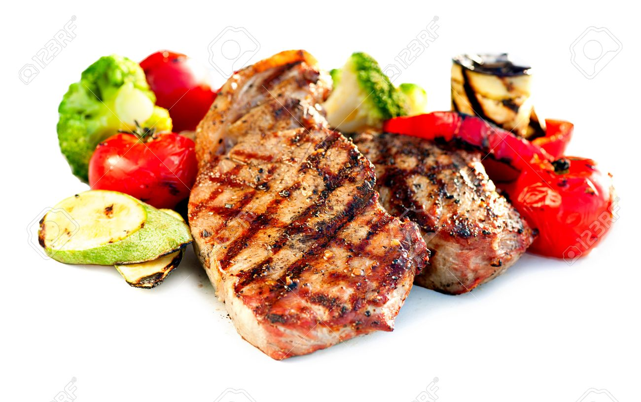 Grilled Beef Steak Meat with Vegetables Stock Photo - 23246680
