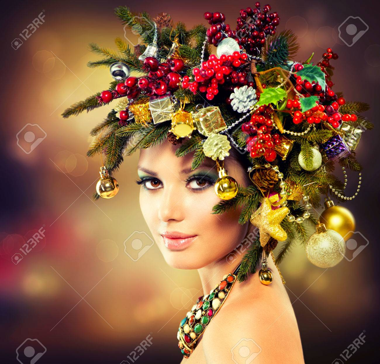 Beautiful Christmas Tree Holiday Hairstyle and Makeup Stock Photo - 23736087