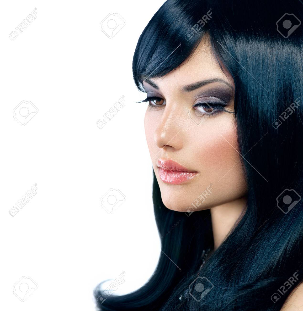 Beautiful Brunette Girl  Healthy Long Black Hair Stock Photo - 23736094