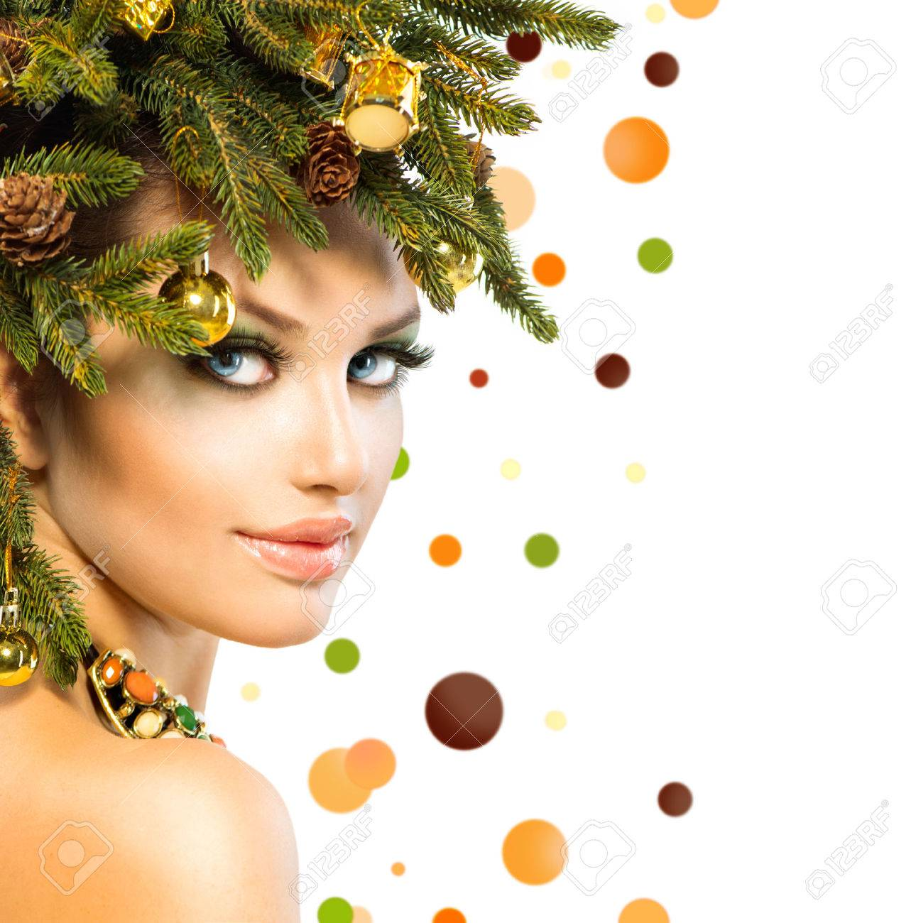 Christmas Woman  Winter Woman with Christmas Hairstyle Stock Photo - 23736100