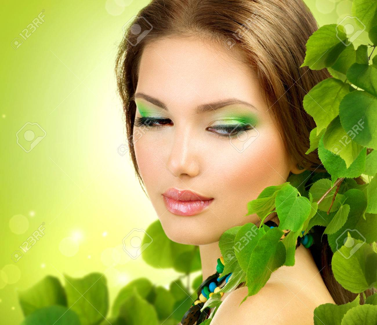 beautiful with green leaves spring beauty outdoor stock photo