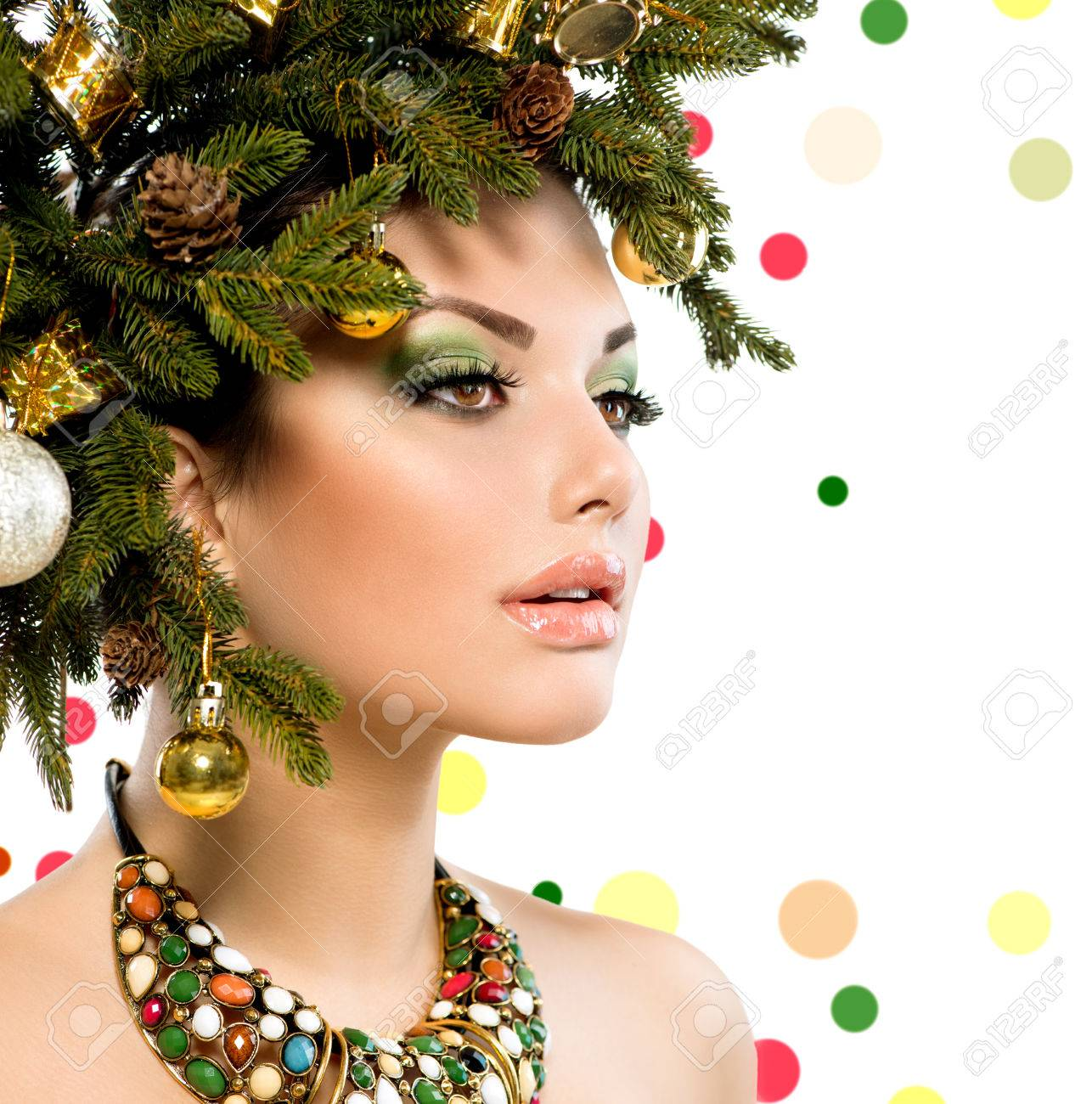 Christmas Woman  Christmas Holiday Hairstyle and Makeup Stock Photo - 23420255
