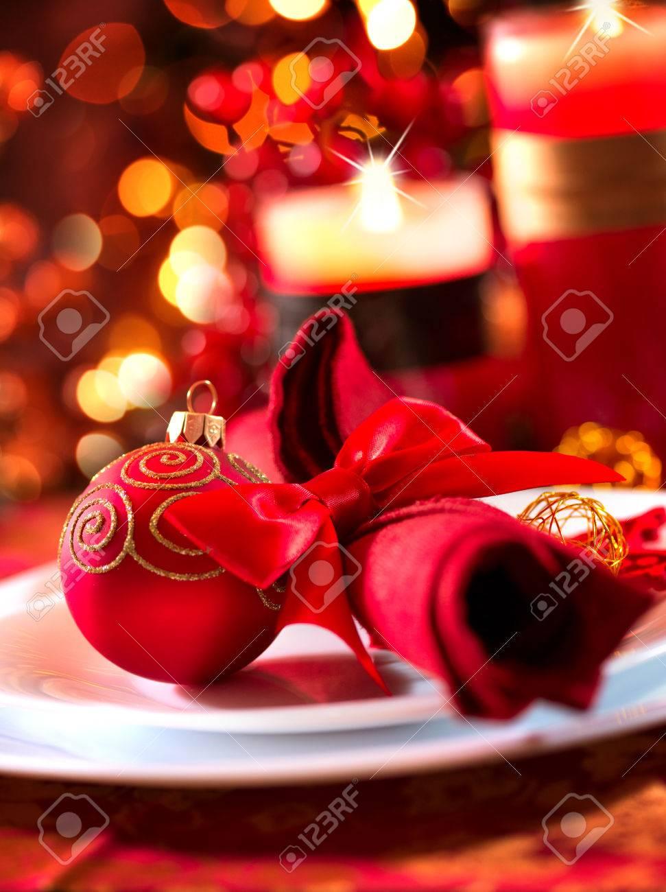 Christmas And New Year Holiday Table Setting  Celebration Stock Photo - 23536820