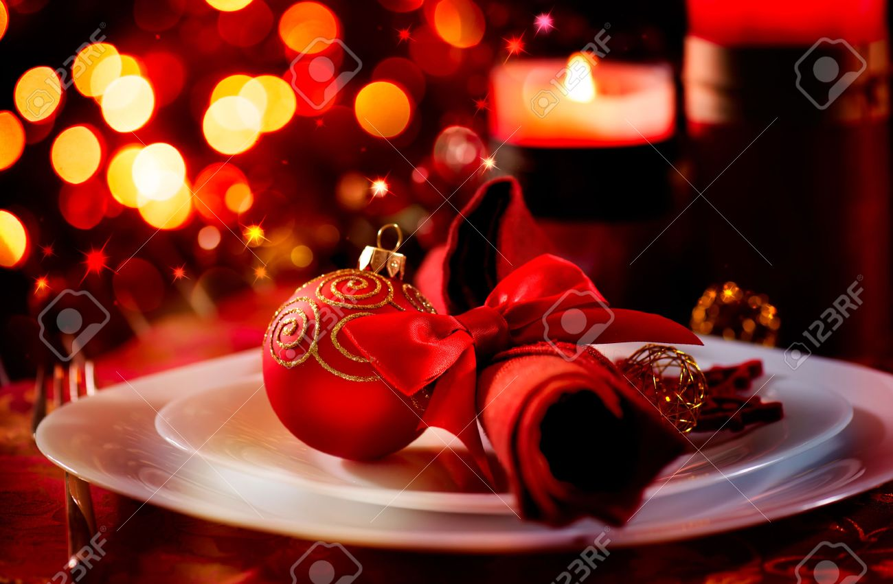 Holiday Table Settings christmas and new year holiday table setting celebration stock