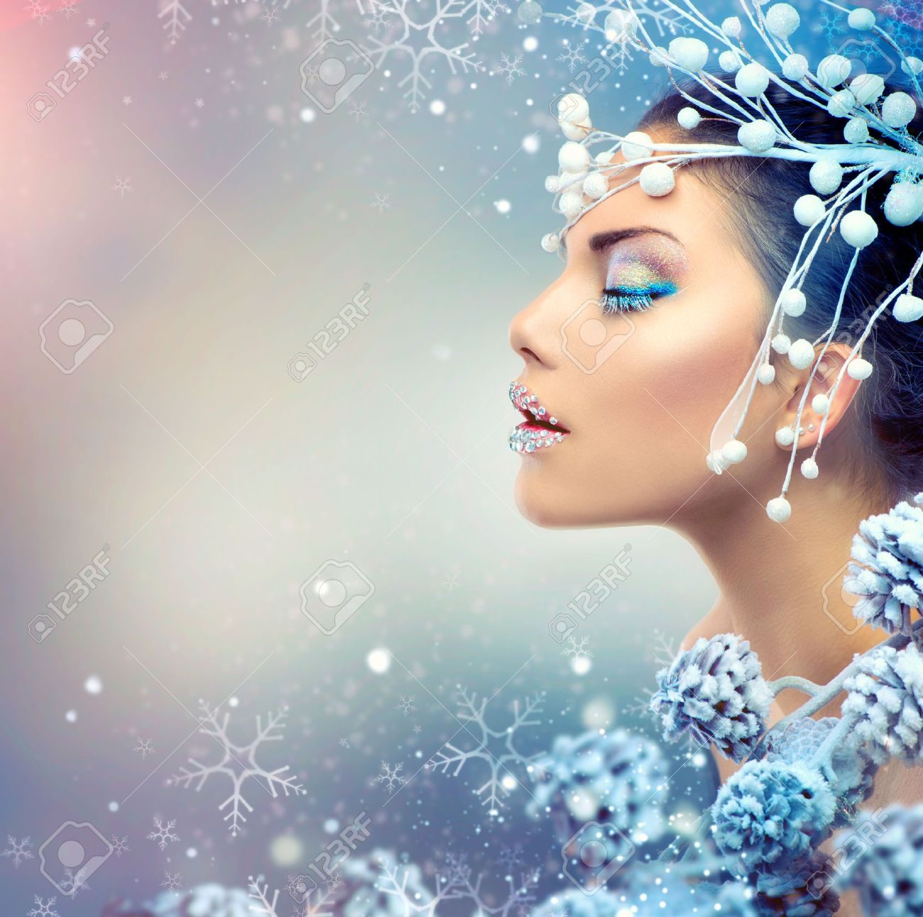 Winter Beauty Woman Christmas Girl Makeup Stock Photo Picture And