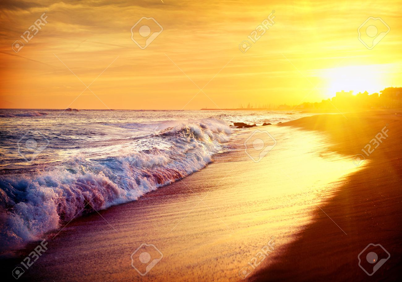Beautiful Sea Sunset Beach Mediterranean Spain Stock Photo