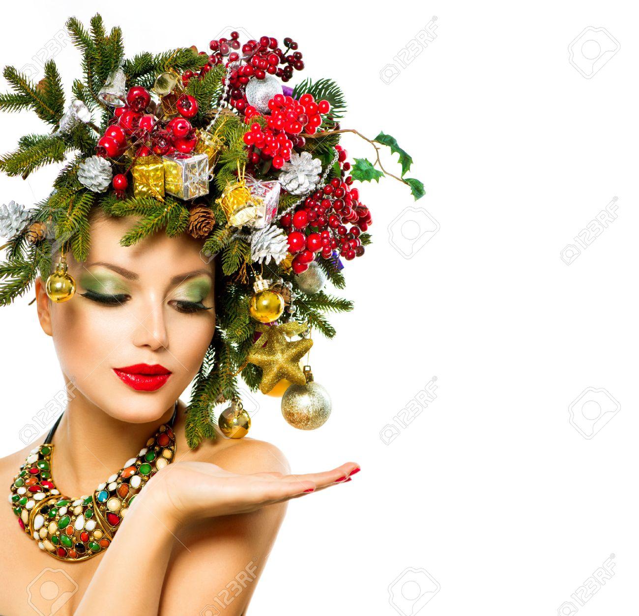 Weihnachten Frau Schone Ferien Weihnachtsbaum Frisur Lizenzfreie