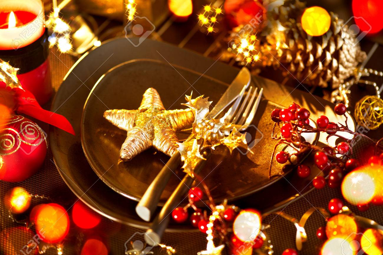 Christmas And New Year Holiday Table Setting  Celebration Stock Photo - 24331787