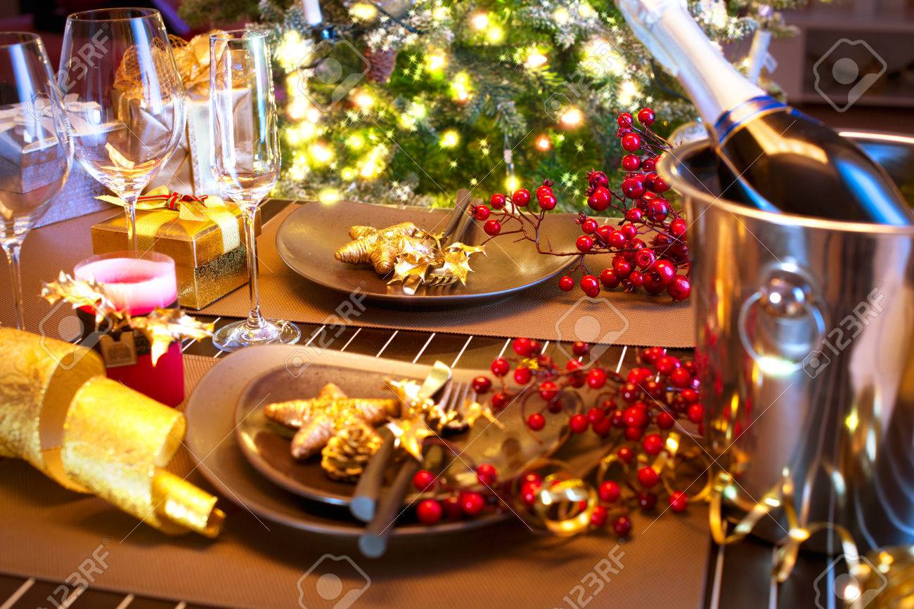 Christmas And New Year Holiday Table Setting With Champagne Stock ...
