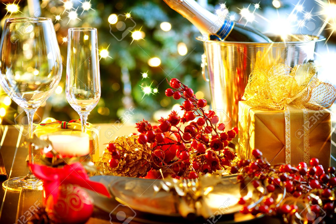 Christmas And New Year Holiday Table Setting with Champagne Stock Photo - 24331793