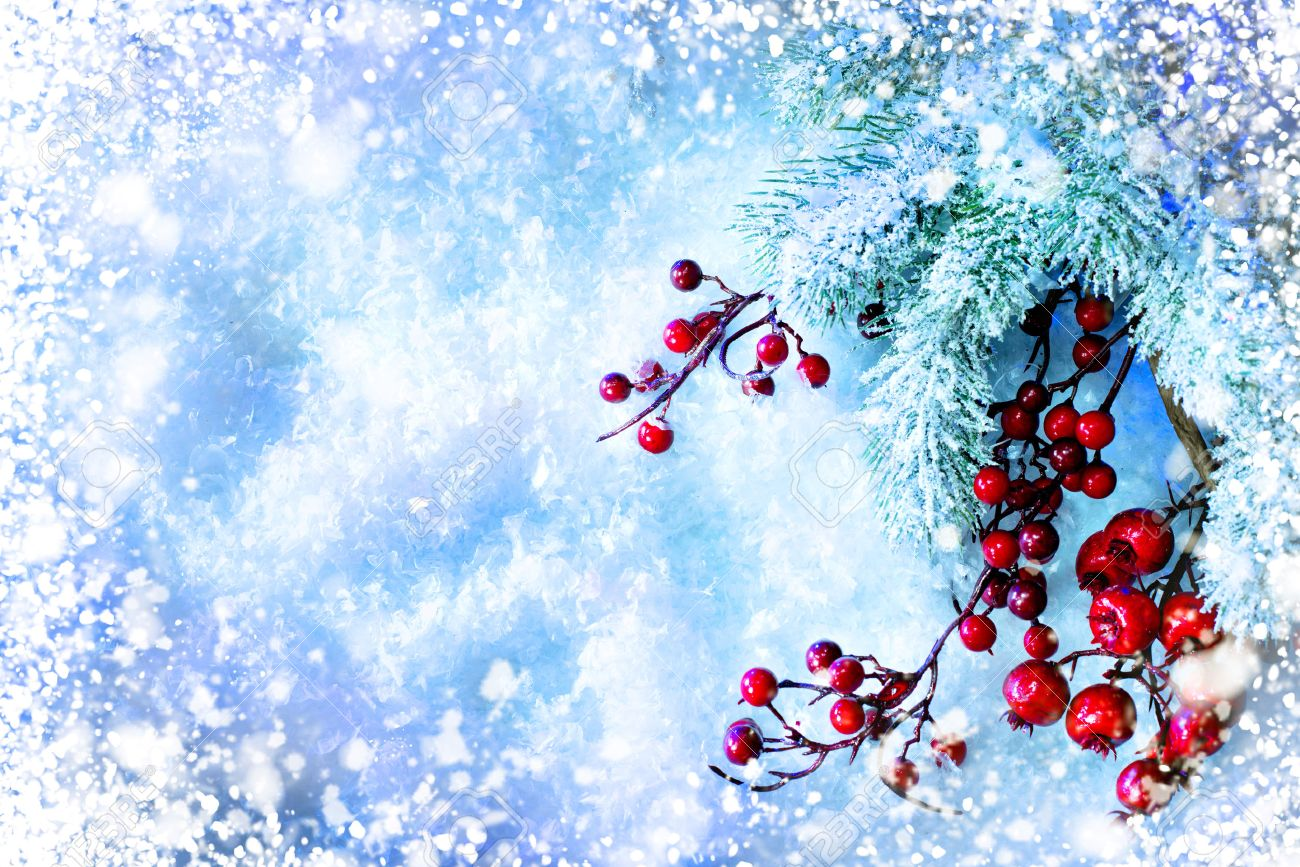 Christmas Tree and Decorations over Snow background Stock Photo - 24331798