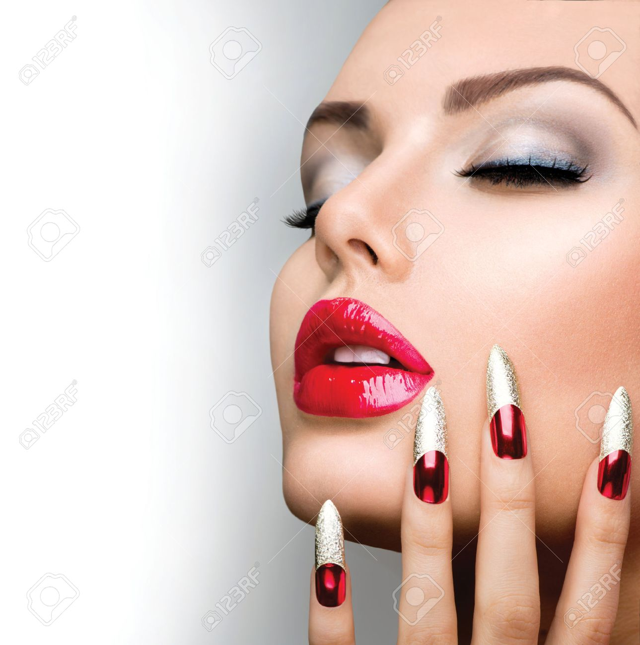 Fashion Beauty Model Girl Manicure And Make-up Nail Art Stock Photo ...