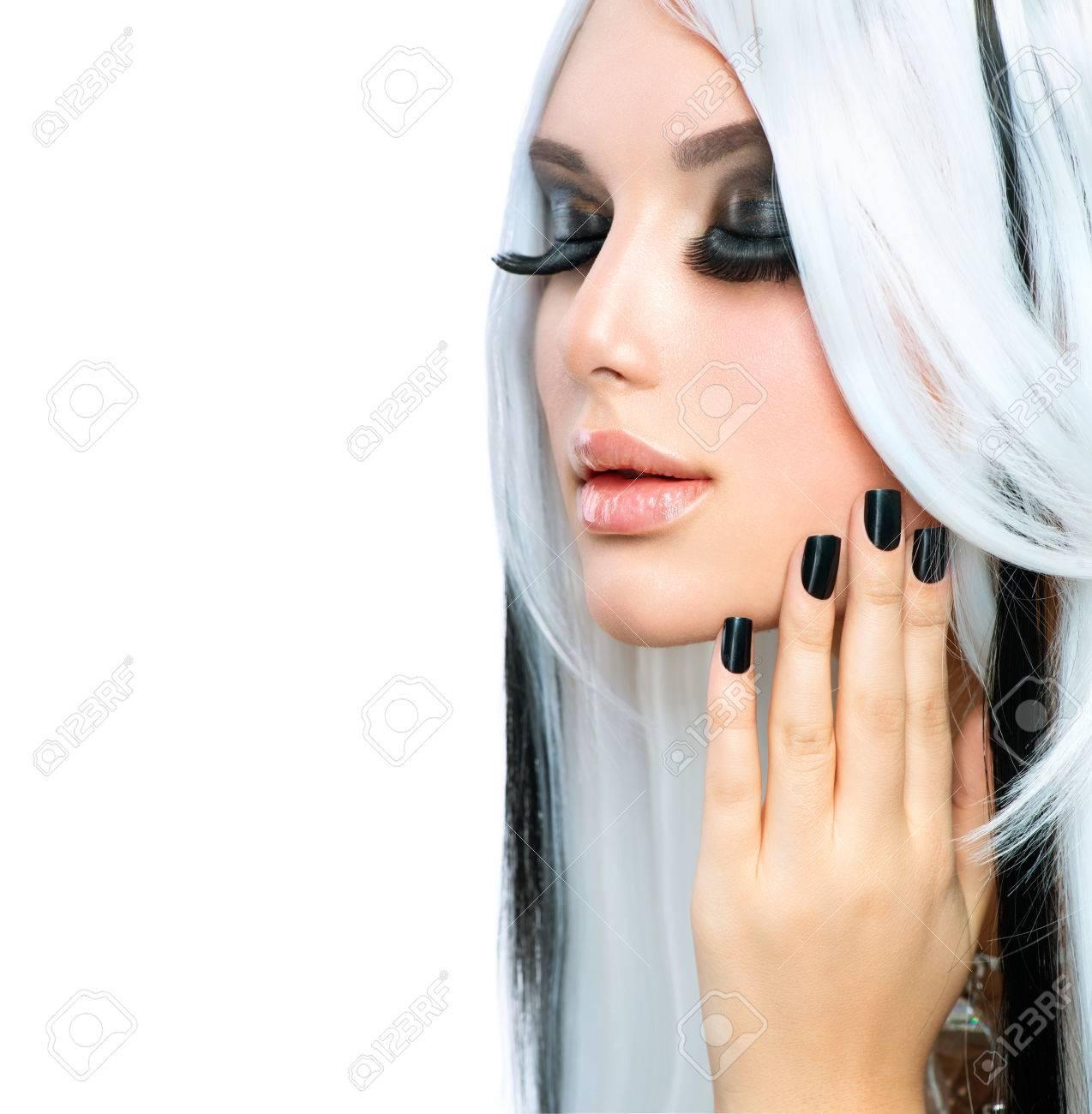 Beauty Fashion Girl black and white style  Long White Hair Stock Photo - 24331834