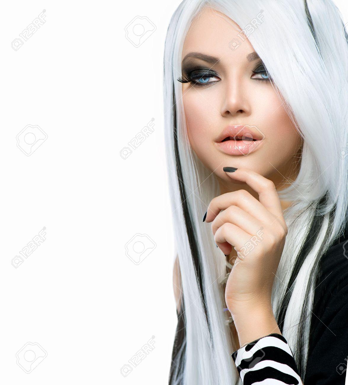 Beauty Fashion Girl black and white style  Long White Hair Stock Photo - 24331832