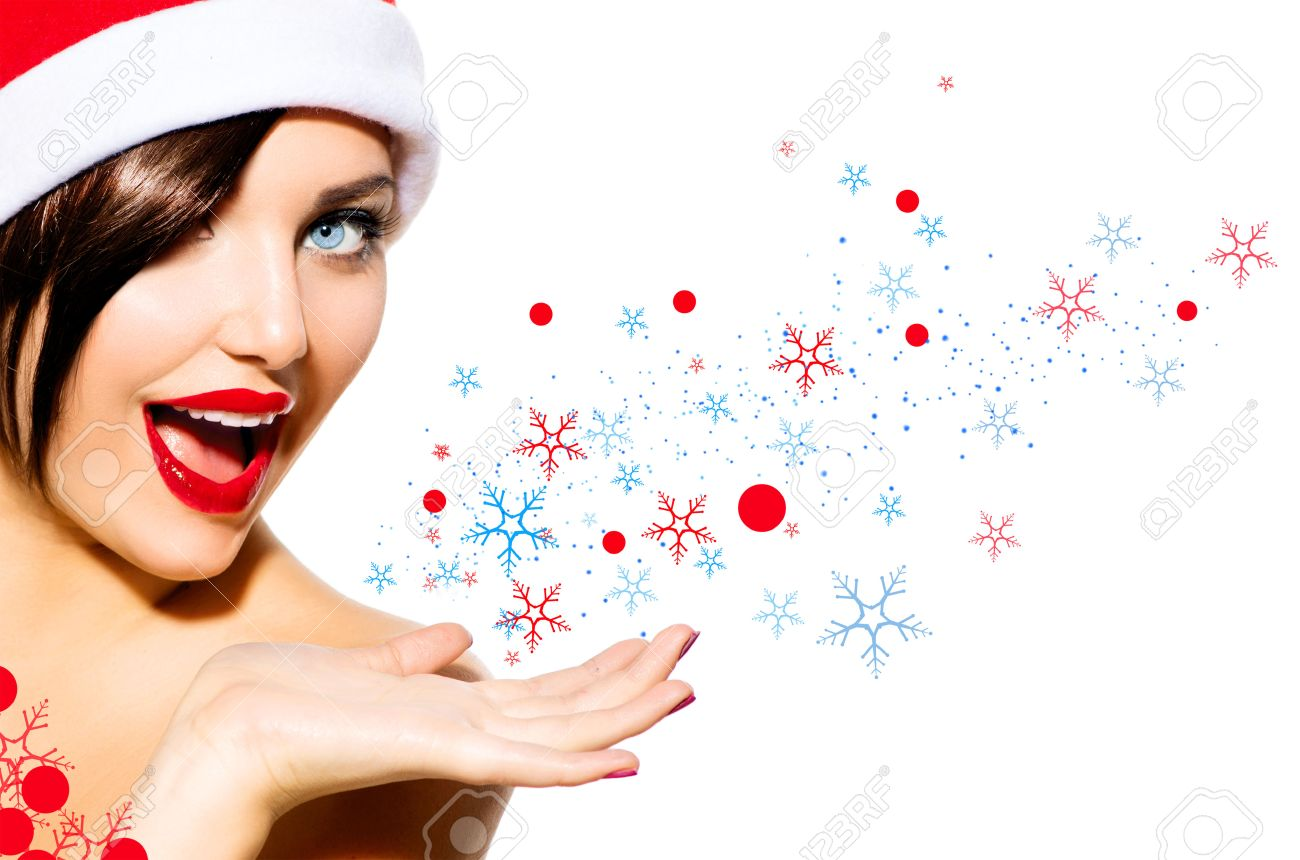 Christmas Beauty.Christmas Woman Beauty Girl In Santa Hat Isolated On White